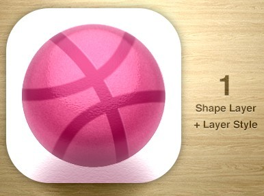 One Layer Style Dribbble Icon PSD
