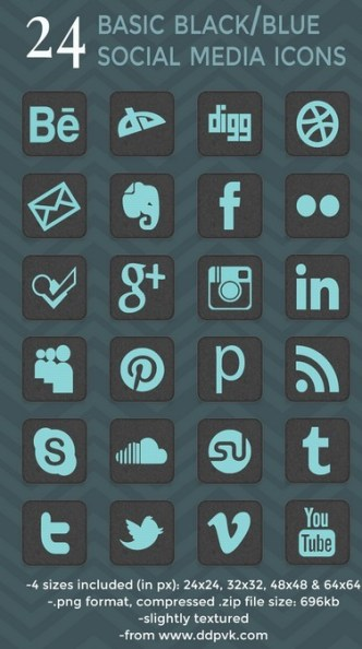 Dark and Blue Rounded Social Media Icon Set
