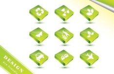ECO Concept Green Icon Set Vector 03