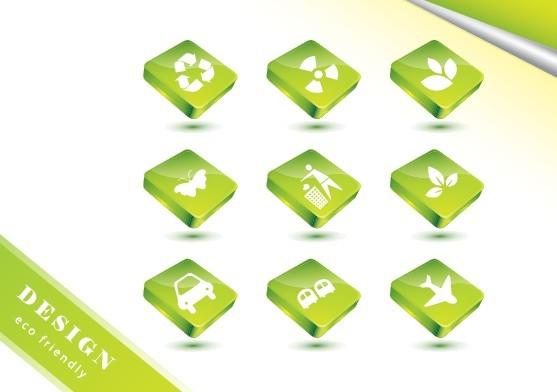ECO Concept Green Icon Set Vector 03
