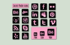 Minimal Pink and Dark Social Media Icons