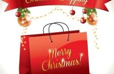 Red Christmas Shopping Bag Vector