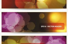 Set Of Vector Stylish Banners with Fantastic Flowers Backgrounds