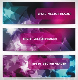 Set Of Vector Stylish Banners with Fantastic Stars Background