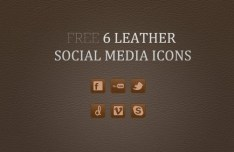 6 Brown Leather Social Media Icons PSD