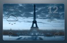 Dark Blue Weather Widget PSD
