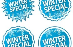 Set Of Blue Winter Special Labels Vector