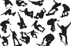 Set Of Vector Skater Boy Silhouettes