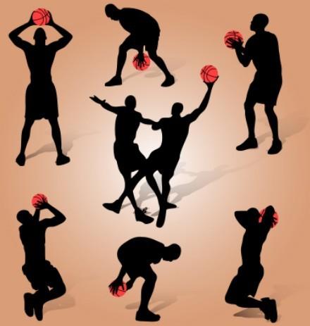 Basketball Man Silhouettes Vector