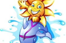 Cute Cartoon Sunflower and Dolphin Illustration Vector