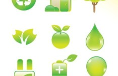 ECO Friendly Green Symbol Set Vector 11