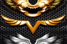 3 Metal Angel Wings Vector