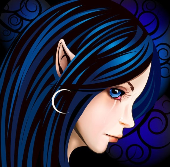 Blue Hair Elf Girl Vector