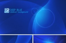 Vector Abstract Deep Blue Background with Curves and Halos