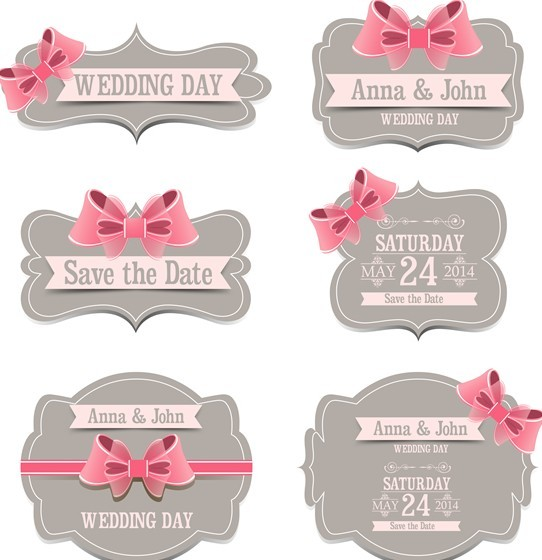 Set Of Sweet Labels with Ribbon Bows Vector 01