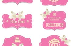 Set Of Sweet Labels with Ribbon Bows Vector 02