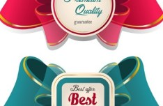 Set Of Sweet Labels with Ribbon Bows Vector 04