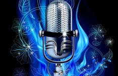 Bright Microphone with Blue Floral Background Vector