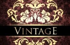 Vintage Golden Pattern with Brown Floral Background Vector 01