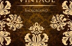 Vintage Golden Pattern with Brown Floral Background Vector 02