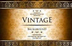 Vintage Golden Pattern with Brown Floral Background Vector 04