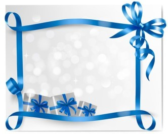Blue Gift Card with Ribbon Bow and Gift Boxes Vector 01
