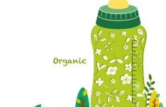 Organic Concept Green Baby Feeding Bottle Illustration Vector 01