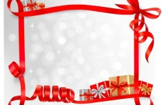 Red Gift Card with Ribbon Bow and Gift Boxes Vector 03
