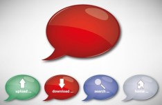 Glossy Speech Bubble Style Web Buttons Vector