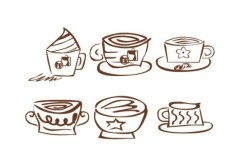 Brown Hand Drawn Coffee Icons Vector