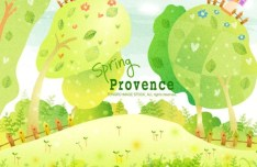 Cartoon Spring Provence Landscape Vector Illustration 02