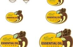Set Of Vector Essential Oil Label Stickers
