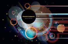 Bright Abstract Circles and Lines Background Vector