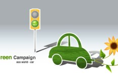 Green ECO World Campaign Car Vector Illustration