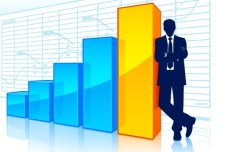 Statistical Charts And Graphs with Business Man