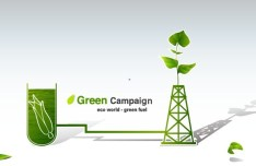 Green ECO World Campaign Green Fuel Vector Illustration