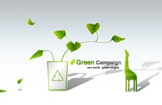 Green ECO World Campaign Green Recycle Vector Illustration