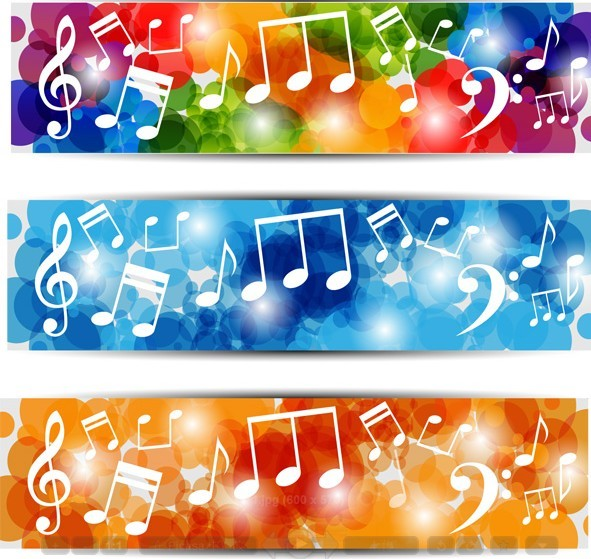 Free Bright Music Banners With Musical Notes Backgrounds