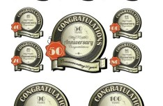Set Of Circular Congratulations Labels with Ribbons Vector
