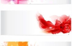 Set of Bright and Fresh Flower Banners (Headers) Vector