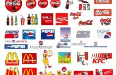 Set Of World's Popular Food and Drink Brand Logos Vector