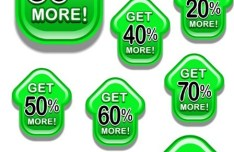 Set of Vector Green Arrow Style Discount Labels