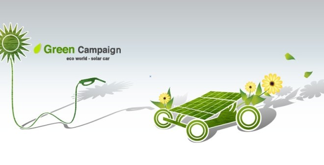 Green ECO World Campaign Solar Car Vector