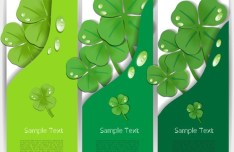 Set Of Vector Vertical Green Clover Banners