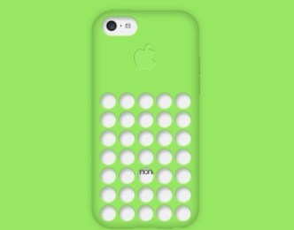 iPhone 5C Green Case PSD Mockup