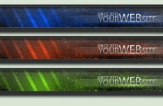 3 Metallic Banners PSD