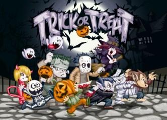 Cartoon Halloween Trick and Treat Art