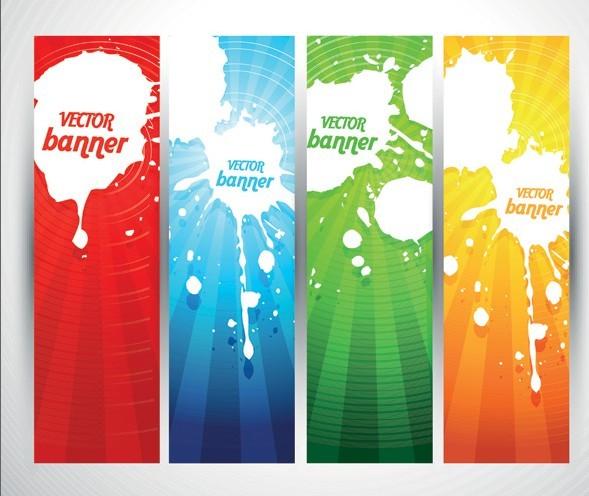 Colored Bright Web Banner & Header Designs Vector 03