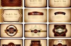 Retro Brown Card Design Template Set Vector