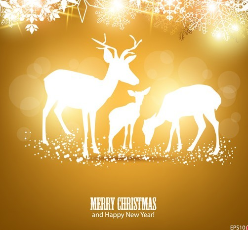 Bright Christmas Elk Card Background Vector 01